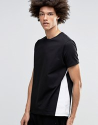 Asos T Shirt In Relaxed Skater Fit With Panelling In Black Black White