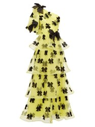 Rodarte Bow One Shoulder Tiered Tulle Gown Yellow Multi