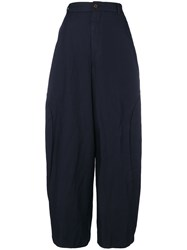 Comme Des Garcons Oversized High Waisted Trousers Blue