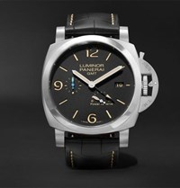 Officine Panerai Luminor 1950 3 Days Acciaio 44Mm Stainless Steel And Alligator Watch Black