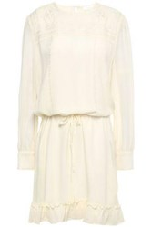 Anine Bing Woman Embroidered Silk Crepe Mini Dress Cream