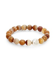 Anzie Boheme Agate Bead And Sterling Silver Om Charm Bracelet Brown