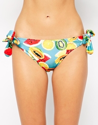 Playful Promises Tropical Fruit Bunny Bow Tie Side Bikini Bottoms Blue