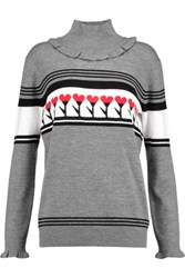 Markus Lupfer Intarsia Knit Wool Turtleneck Sweater Multi