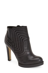 Women's French Connection 'Bella' Channel Quilted Bootie Black Leather