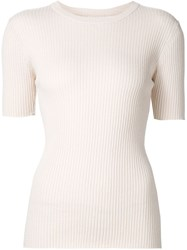 Frame Denim Ribbed Short Sleeve Knit Top Nude And Neutrals