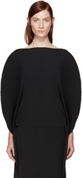 Issey Miyake Black Pleated Solid Earth Circle Top