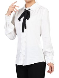 Jolie Moi Trimmed Bow Tie Blouse Ivory