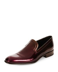 Salvatore Ferragamo Garth Patent Leather Venetian Loafer Wine
