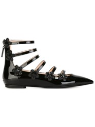 Fendi Flower Detail Ballerinas Black