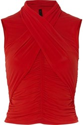 Unravel Project Cropped Ruched Wrap Effect Stretch Jersey Top Red
