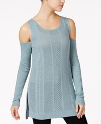 Jessica Simpson Ciro Pointelle Knit Cold Shoulder Sweater Med Blue