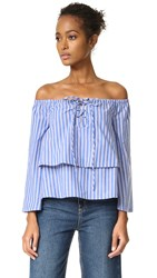 J.O.A. Stripe Shirting Blouse Blue White