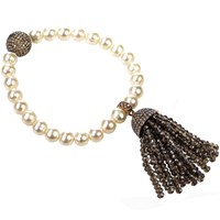 Latelita London Tassel Pearl Bracelet Smokey Quartz Brown Rose Gold