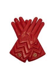 Gucci Gg Marmont Chevron Quilted Leather Gloves Red