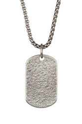 Steve Madden Blasted Dog Tag Necklace Metallic