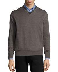 Neiman Marcus Superfine Cashmere Tipped Sweater Charcoal