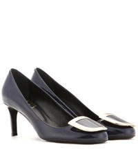 Roger Vivier Decollete Ecusson Patent Leather Pumps Blue