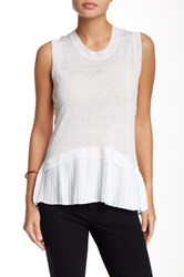 Madison Marcus Accordion Pleated Hem Linen Tank White
