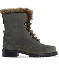Dune Raleigh Faux Fur Lined Suede Boots Grey Suede