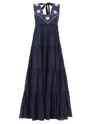 Innika Choo Che Pas Floral Embroidered Tiered Cotton Dress Navy