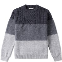 Head Porter Plus Multi Border Crew Knit Grey