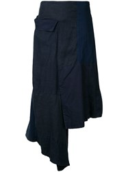 Yohji Yamamoto Flap Patched Skirt Women Cotton Hemp Linen Flax 1 Blue