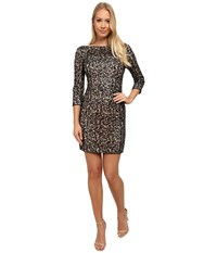 Aidan Mattox Long Sleeve Crochet And Sequin Cocktail Dress Black Nude Women's Dress Multi
