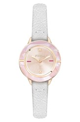 Furla Club Leather Strap Watch 26Mm White Rose Gold Rose Gold