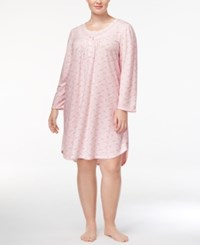 Miss Elaine Plus Size Knit Lace Trim Nightgown Pink Taupe Leaves