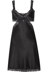Stella Mccartney Clara Whispering Cutout Lace Trimmed Stretch Silk Charmeuse Satin Chemise Charcoal