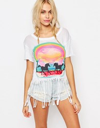 Wildfox Couture Wildfox Rider Festival Fringe Tee Pony Tee Clean White