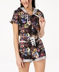 Material Girl Active Juniors' Cotton Cropped Hoodie Created For Macy's Black Floral