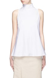 The Row 'Luna' Tie Neck Cotton Poplin Sleeveless Top White
