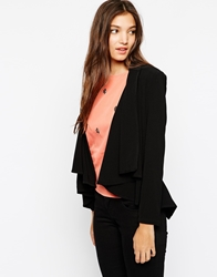 Paisie Drape Jacket With Split Back Black