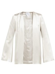 Galvan Collarless Satin Jacket Silver