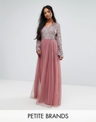Maya Petite Sequin Top Tulle Maxi Dress With Fluted Sleeve Detail Purple