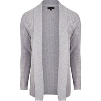 River Island Mens Grey Cable Knit Open Front Cardigan