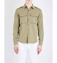 Sandro Militaria Regular Fit Cotton Shirt Olive Green