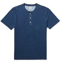 Faherty Slim Fit Indigo Dyed Cotton Jersey Henley T Shirt Blue