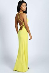 Boohoo Strappy Back Detail Maxi Dress Yellow