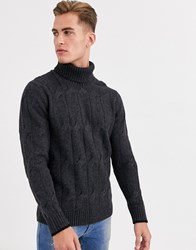 Selected Homme Chunky Wool Roll Neck Knitted Jumper In Grey