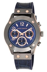 Women's Vince Camuto Multifunction Leather Strap Watch 42Mm Navy Gunmetal