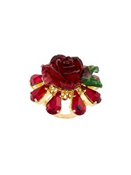 Dolce And Gabbana Crystal Rose Ring Red