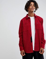 Volcom Shader Striped Shirt In Red