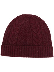 N.Peal Cable Knit Hat Red