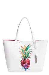 Vince Camuto Maro Faux Leather Tote White Pineapple Print White