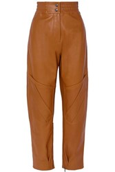 Acne Studios Louiza Leather Tapered Pants Light Brown