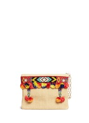 Venna 'Lovely' Embroidered Tribal Beadwork Pompom Raffia Clutch Neutral Multi Colour