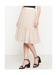 Needle And Thread Lace Tulle Skirt Beige